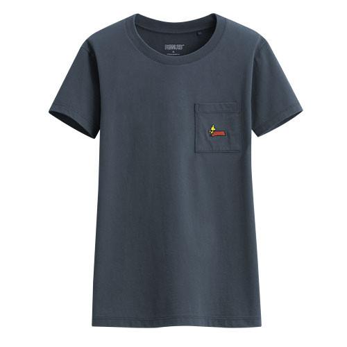 image of Lativ :史努比口袋印花T恤-04-女( 復古藍)