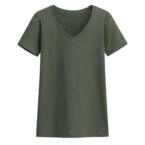 Lativ :快乾棉V領T恤-女( 深灰綠)