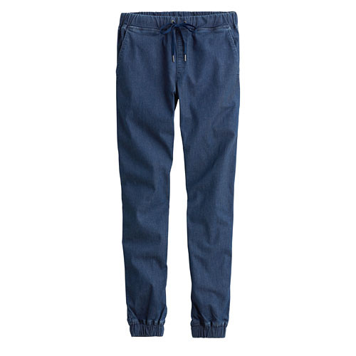Lativ:軟牛仔九分束口褲-女( 深藍)