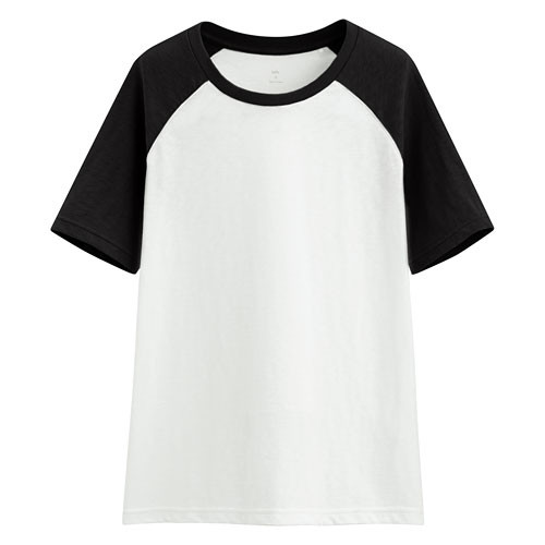 image of Lativ: 竹節棉配色T恤-女( 黑色)