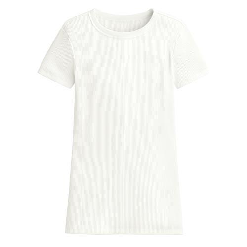 image of Lativ: 羅紋圓領短袖T恤-女( 白色)