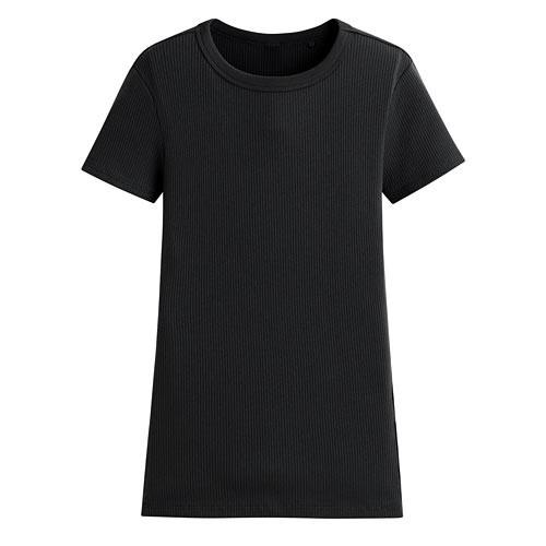 image of Lativ:羅紋圓領短袖T恤-女( 黑色)