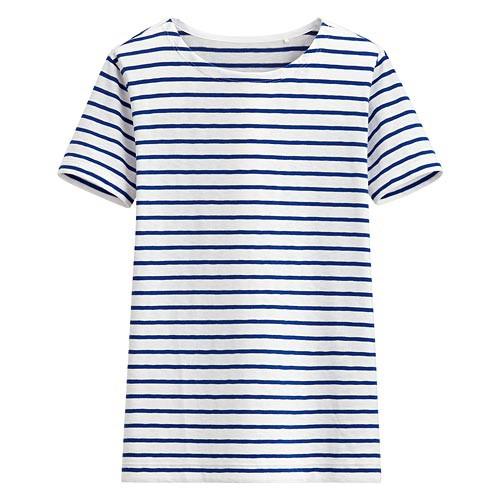 image of Lativ: 竹節棉條紋短袖T恤-女( 寶藍條)