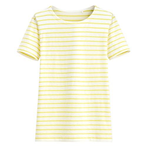 image of Lativ: 竹節棉條紋短袖T恤-女( 黃色條)