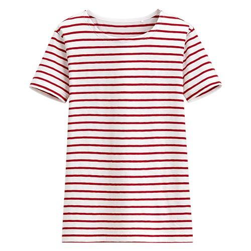 image of Lativ: 竹節棉條紋短袖T恤-女( 紅色條)
