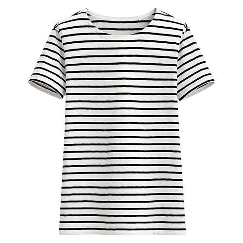 image of Lativ: 竹節棉條紋短袖T恤-女( 黑色條)