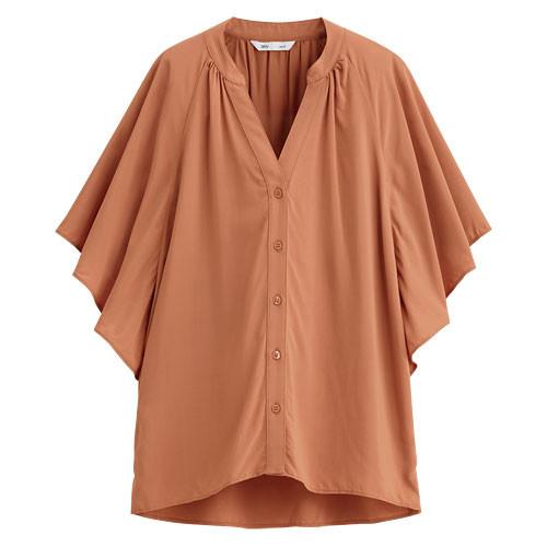 Lativ: 嫘縈荷葉袖上衣-女( 粉橘)