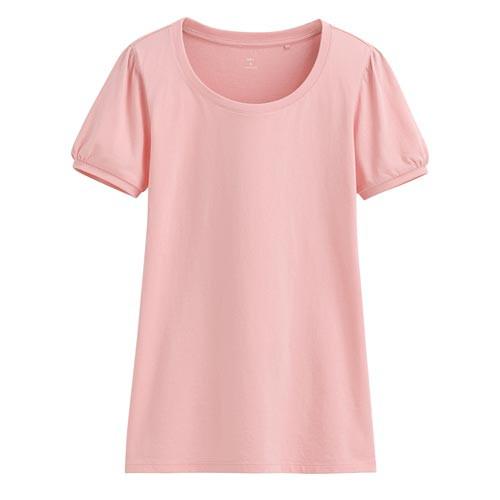 Lativ:純棉泡泡袖T恤-女( 淺粉紅)