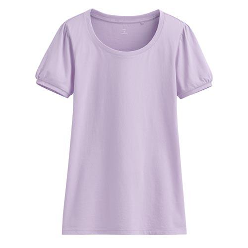 Lativ: 純棉泡泡袖T恤-女( 粉紫)