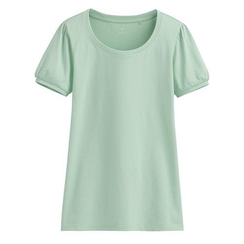 Lativ: 純棉泡泡袖T恤-女( 灰綠)