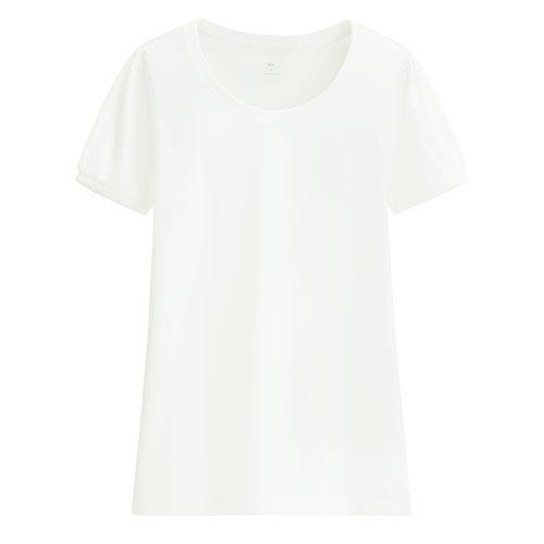 Lativ: 純棉泡泡袖T恤-女( 白色)