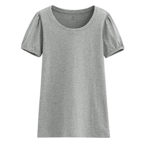 Lativ: 純棉泡泡袖T恤-女( 淺麻灰)