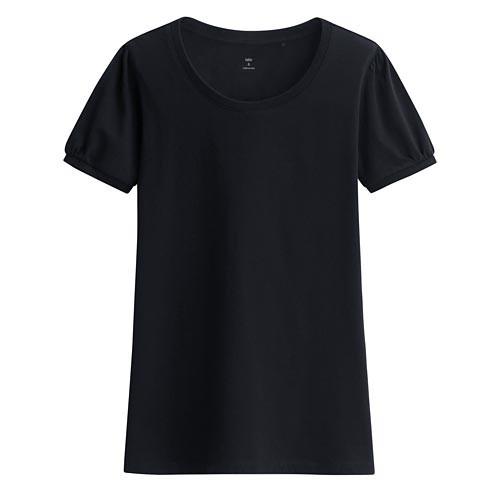 Lativ: 純棉泡泡袖T恤-女( 深藏青)