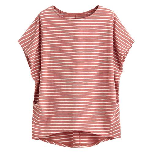 Lativ:竹節棉寬版條紋短袖衫-女( 深粉條)