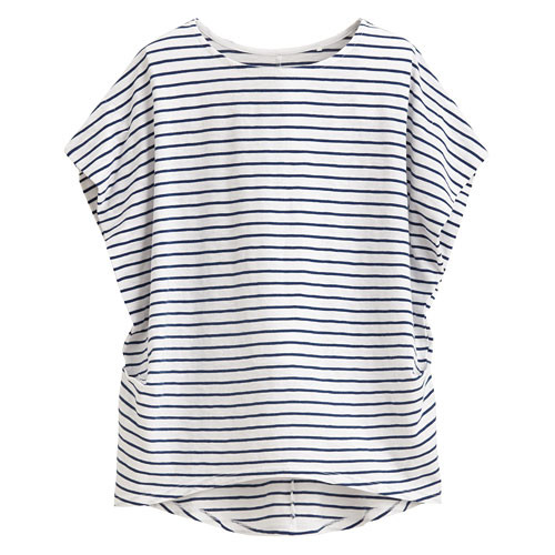 image of Lativ:竹節棉寬版條紋短袖衫-女( 藍白條)