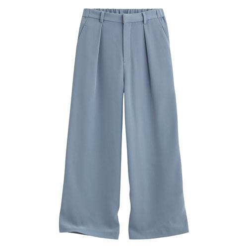Lativ:垂墜風九分寬褲-女( 灰藍)