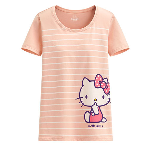 image of Lativ :Hello Kitty Bra條紋T恤-女( 淺粉)