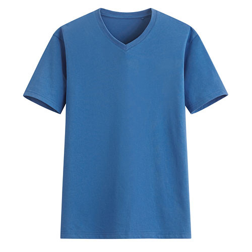 image of Lativ :快乾棉V領T恤-男( 藍色)