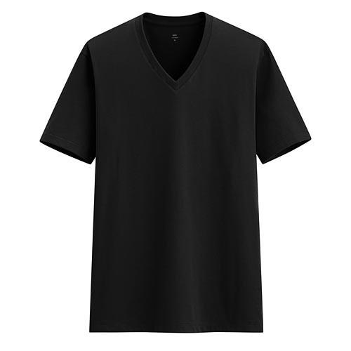 image of Lativ :Pima 棉V領T恤-男( 黑色 )