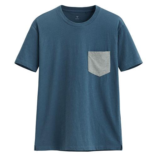 image of Lativ :竹節棉口袋短袖T恤-男( 暗灰藍)