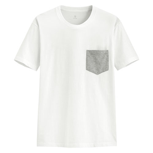 image of Lativ :竹節棉口袋短袖T恤-男( 白色)