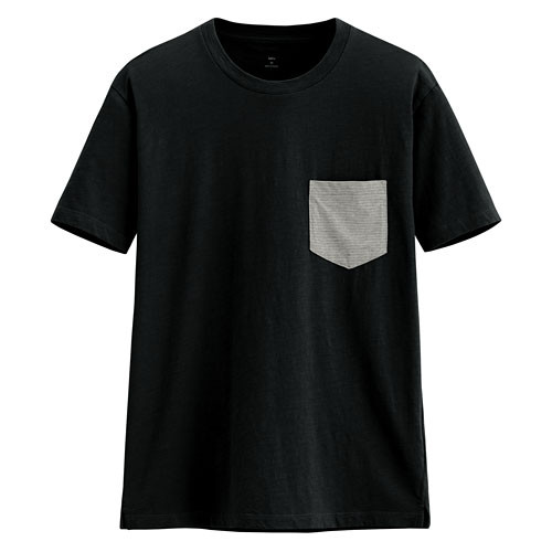 image of Lativ :竹節棉口袋短袖T恤-男( 黑色)
