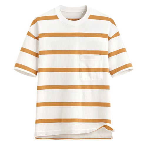 image of Lativ :厚紡寬版條紋T恤-男( 棕色條)