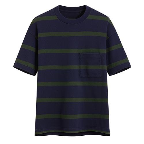 image of Lativ :厚紡寬版條紋T恤-男( 藍綠條)