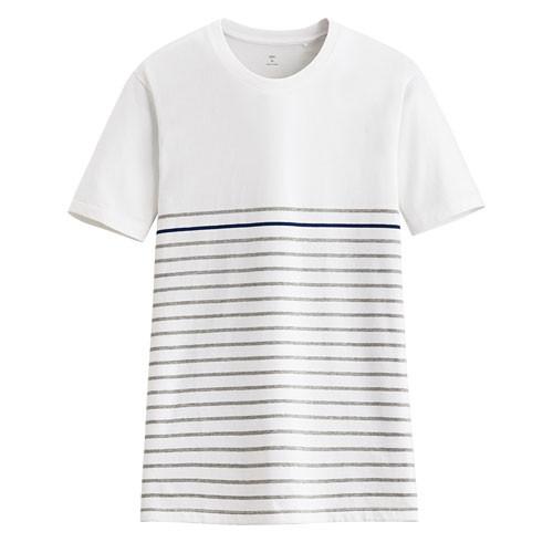 image of Lativ :純棉條紋短袖T恤-男( 白色條)
