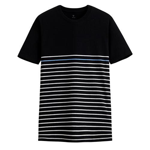 image of Lativ :純棉條紋短袖T恤-男( 黑色條)