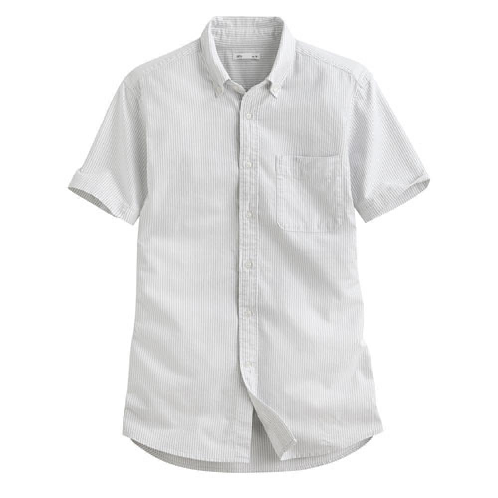 Lativ : 牛津條紋短袖襯衫-男( 灰白條)