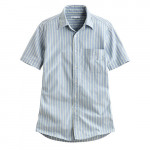 Lativ : 牛津條紋短袖襯衫-男( 藍綠條)
