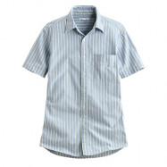 image of Lativ : 牛津條紋短袖襯衫-男( 藍綠條)