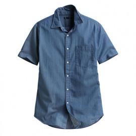 image of Lativ : 牛仔短袖襯衫-男( 藍色)