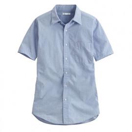 image of Lativ : 柔棉短袖襯衫-男( 藍色)