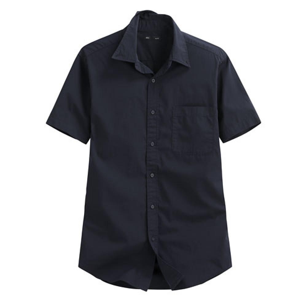 Lativ : 柔棉短袖襯衫-男( 藏青)