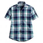 Lativ : 經典格紋短袖襯衫-男( 湖藍格)