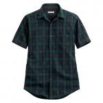 Lativ : 經典格紋短袖襯衫-男( 深綠藍格)