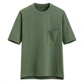 image of Lativ :厚紡寬版圓領T恤-男( 綠色)