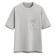 image of Lativ :厚紡寬版圓領T恤-男( 淺麻灰 )