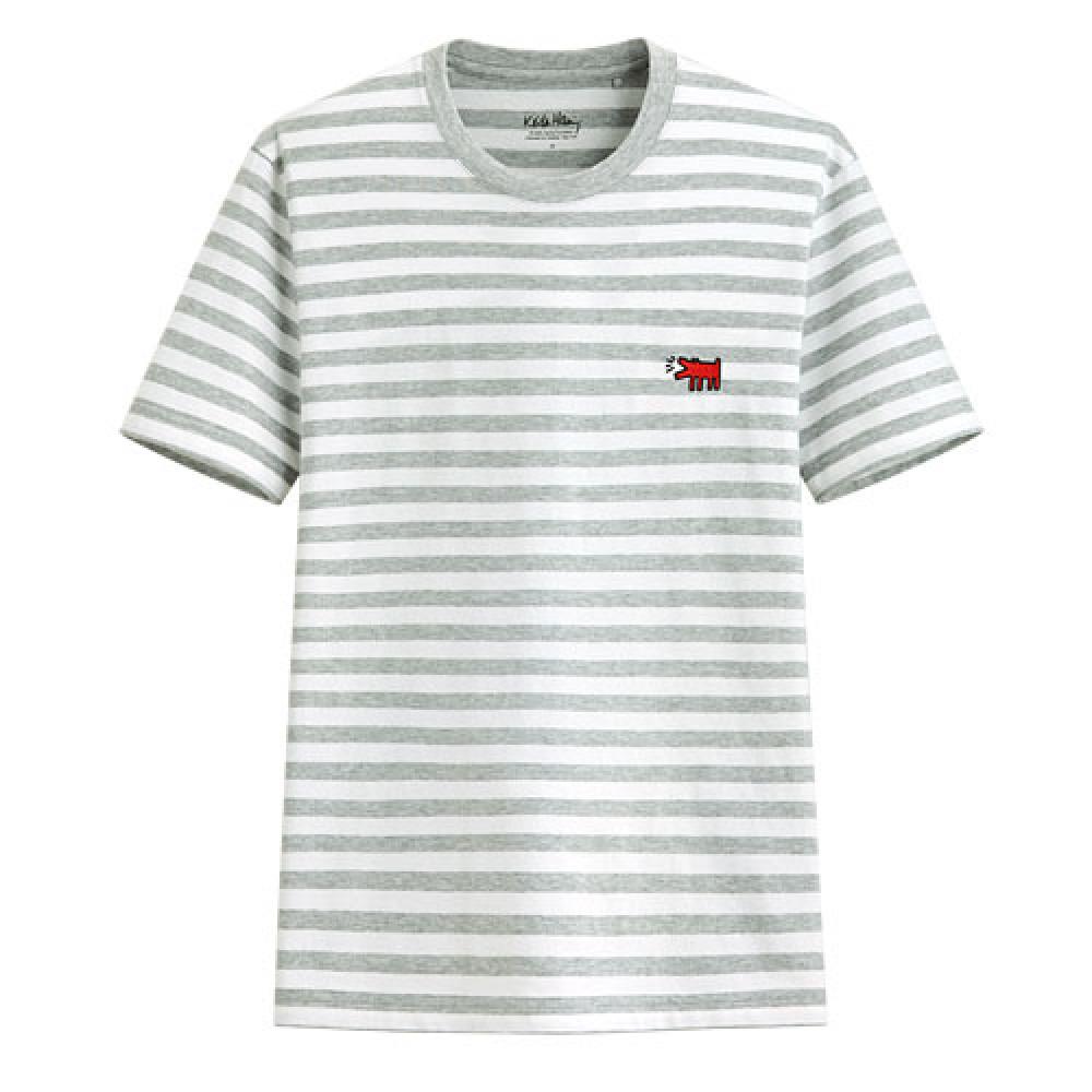 Lativ :Keith Haring條紋印花T恤-08-男( 淺麻灰)