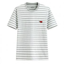 image of Lativ :Keith Haring條紋印花T恤-08-男( 淺麻灰)