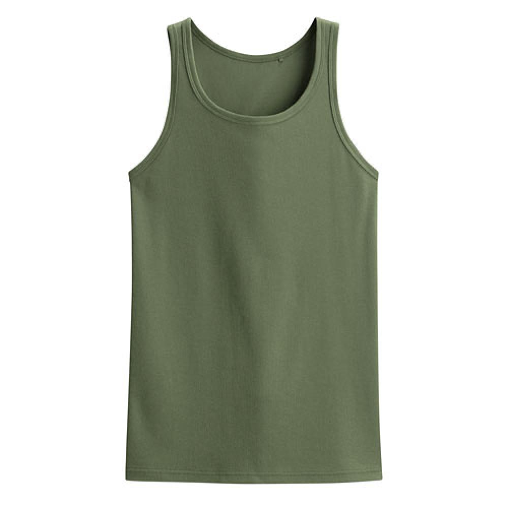 Lativ :快乾棉羅紋背心-男( 橄欖綠)