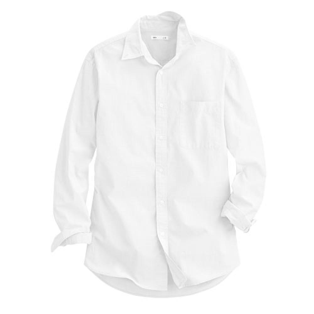 Lativ :柔棉長袖襯衫-男( 白色)