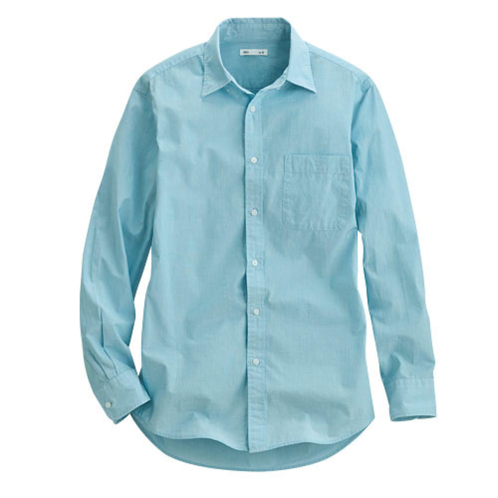 Lativ :柔棉長袖襯衫-男( 水藍)