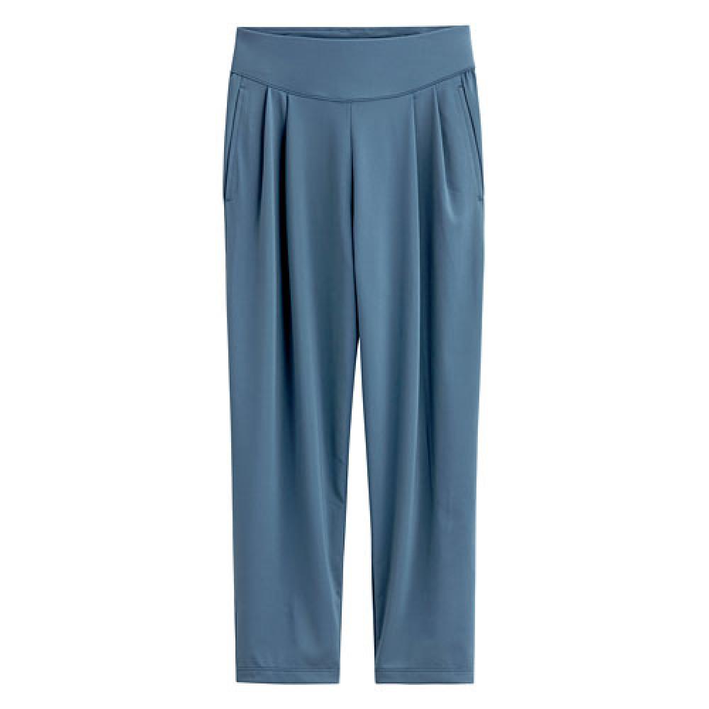 Lativ : 吸排寬版褲-女( 灰藍)