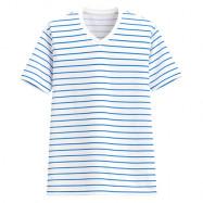 image of Lativ : 吸排條紋V領T恤-男( 藍白條)