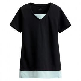 image of Lativ :吸排拼色T恤-女( 黑色)
