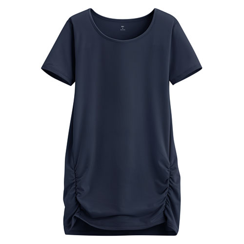 Lativ : 吸排抽縐長版衫-女( 藏青)