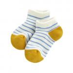 Lativ : 半毛圈條紋踝襪-童( 淺灰藍條)